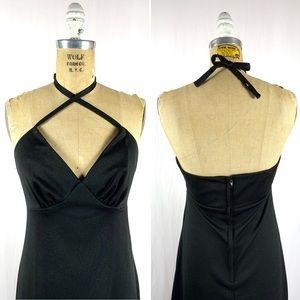 Vintage Dresses - 70's Witchy Polyester 4 Way Maxi Festival Dress S
